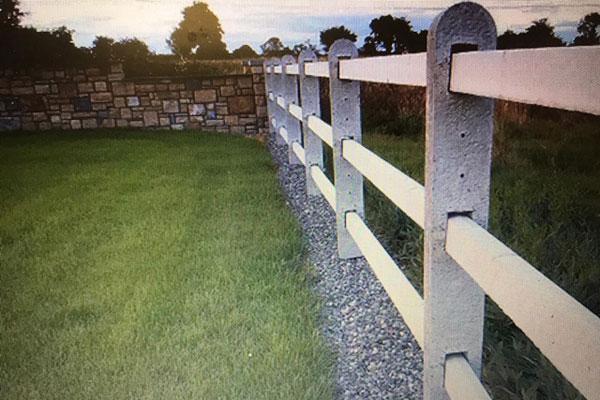 Three rail concrete fencing